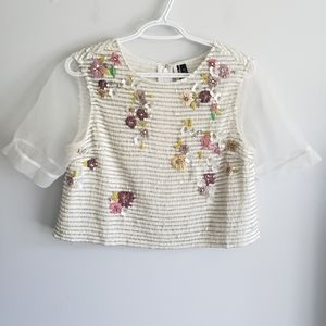 Topshop Floral Beaded Sequined Organza Crop Blouse